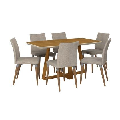 Duffy and Charles Collection 2-10184511011453 7-Piece Dining Set with with Table and 6x Side Chairs in Matte Cinnamon Off White and Grey