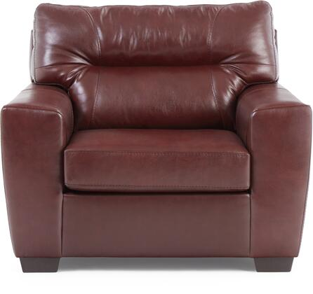 2043-01R Soft Touch Crimson 37″ Chair 1/4 with Tufted Back Cushion and  Leather Upholstery in