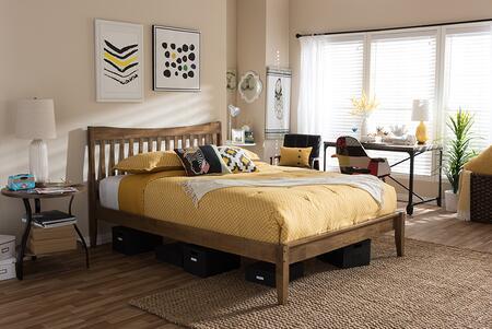 Baxton Studio Edeline SW8015WALNUTM17QUEEN Bed Brown, SW8015 Brown Queen 5