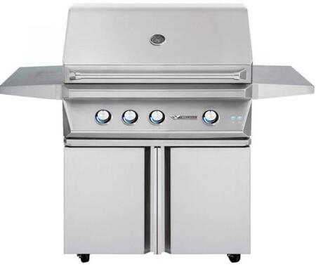 36″ Freestanding Liquid Propane Grill with 3 Main Burners  75000 Total BTU  640 sq. in. Cooking Surface  High-Quality Ceramic Briquettes  Hexagonal