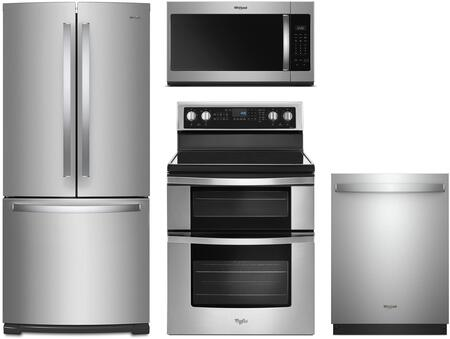 """4-Piece Kitchen Appliance Package with WRF560SMHZ 30"""" French Door Refrigerator WGE745C0FS 30"""" Double Oven Electric Range WMH31017HS 30"""""""