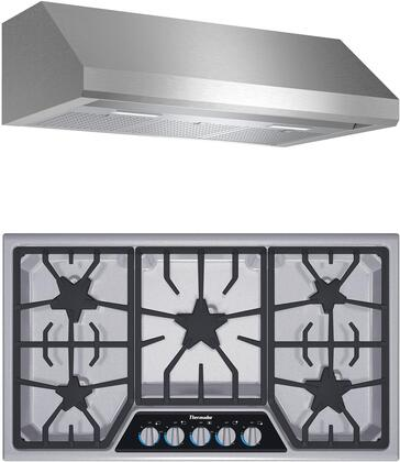 2 Piece Kitchen Appliances Package with SGSL365KS 36″ Gas Cooktop and HMWB36WS 36″ Wall Mount Convertible Hood in Stainless