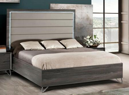 Amalfi Collection AMALF-QNBED-MGR-43 Queen Bed with Eco-Leather Gray Upholstered Headboard  LED Light and Box Spring Included in Matt Gray