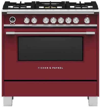 Fisher Paykel Classic OR36SCG6R1 Freestanding Dual Fuel Range Red, Front view