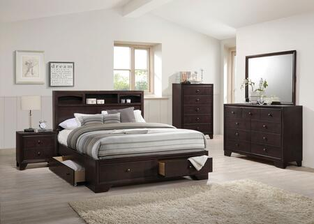 Acme Furniture Madison II 19557EKSET Bedroom Set Brown, 5 PC Set