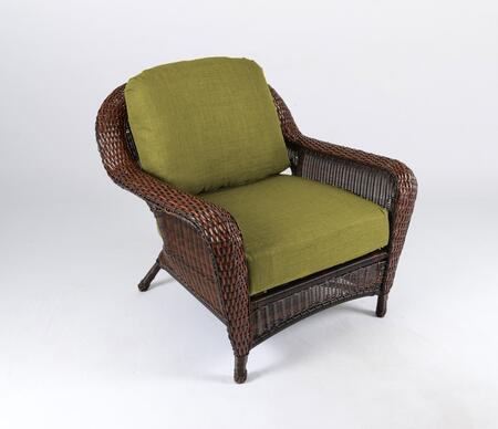 Sea Pines Collection LEX-C1-J-KIWI Club Chair in Java Wicker and Rave Kiwi Fabric