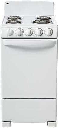 Danby DER202W 20 Inch Freestanding Electric Range with 4 Coil Elements, 2.3 cu. ft. Primary Oven Capacity, ADA Compliant, in White