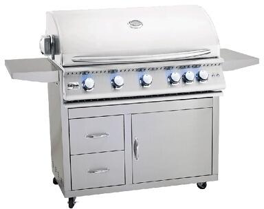 SIZPRO40-NG 40″ Sizzler Pro Series Natural Gas Freestanding Grill with 5 Stainless Steel Tube Burners  985 sq. in. Cooking Surface  Flame Thrower