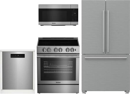 4 Piece Kitchen Appliances Package with BRFD2230SS 36″ French Door Refrigerator BIRP34450SS 30″ Electric Induction Range  BOTR30100SS 30″ Over the