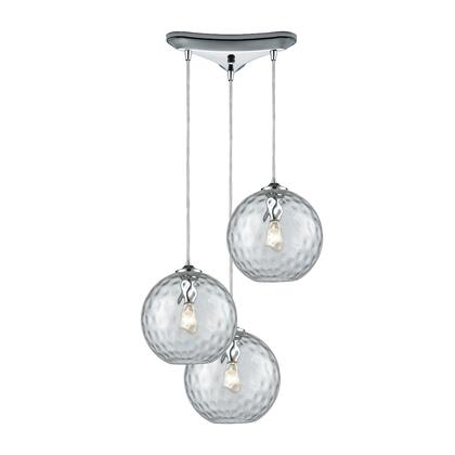 31380/3CLR Watersphere 3 Light Triangle Pan Fixture in Polished Chrome with Clear Hammered