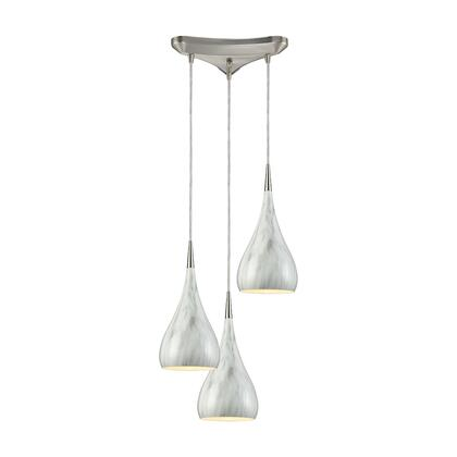 31341/3MB Lindsey 3 Light Triangle Pan Fixture in Satin Nickel with Marble Print