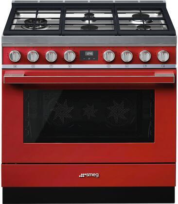Smeg Portofino CPF36UGMR Freestanding Dual Fuel Range Red, Main Image