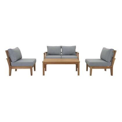 Marina Collection EEI-1477-NAT-GRY-SET 5 PC Outdoor Patio Teak Set in Natural Grey