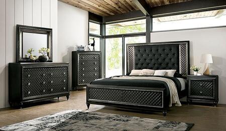Furniture of America Demetria CM7584CKBEDNSCHDRMR Bedroom Set Gray, CM7584CK-BED-NSCHDRMR