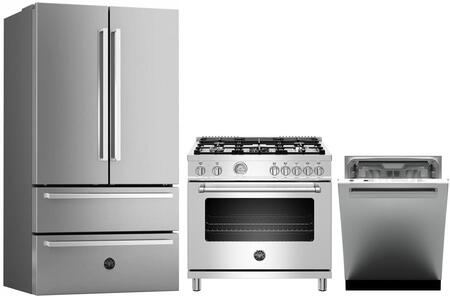"""3 Piece Kitchen Appliances Package with REF36X 36"""" French Door Refrigerator MAST365GASXE 36"""" Gas Range and DW24XV 24"""" Built In Fully Integrated"""
