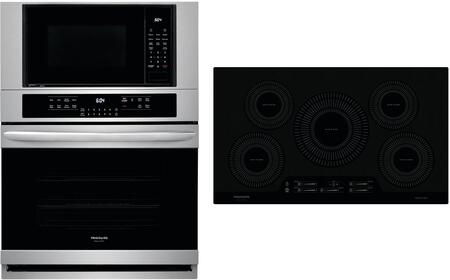 """2 Piece Kitchen Appliances Package with FGMC3066UF 30"""" Electric Double Wall Oven/Microwave Combo and FGIC3666TB 36"""" Electric Induction Cooktop in"""