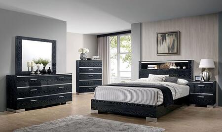 Furniture of America Malte CM7049BKQBEDNSCHDRMR Bedroom Set Black, CM7049BK-Q-BED-NSCHDRMR
