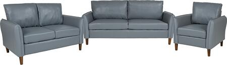 BT-S8373-SET-GRY-GG Milton Park Upholstered Plush Pillow Back Chair  Loveseat and Sofa Set in Gray