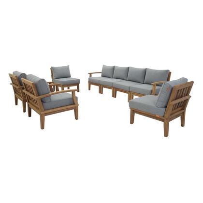 Marina Collection EEI-1817-NAT-GRY-SET 8 PC Outdoor Patio Teak Set in Natural Grey