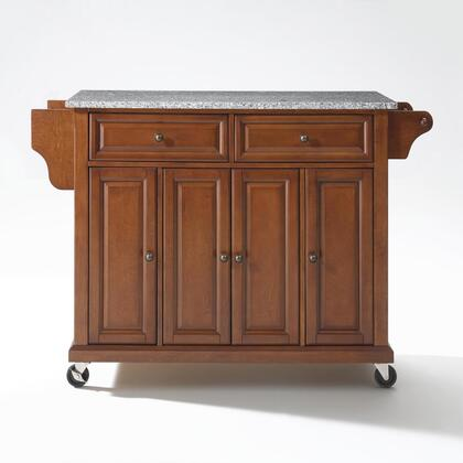 Full Size Kitchen Collection KF30003ECH Full Size Granite Top Kitchen Cart in Cherry