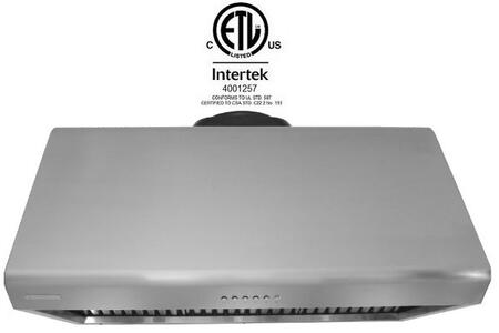 XtremeAir Deluxe DL09W42 Under Cabinet Hood Stainless Steel, Range Hood Front