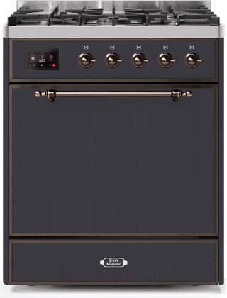 Ilve Majestic II UM30DQNE3MGBLP Freestanding Dual Fuel Range Graphite, UM30DQNE3MGBLP-Front-CD-A
