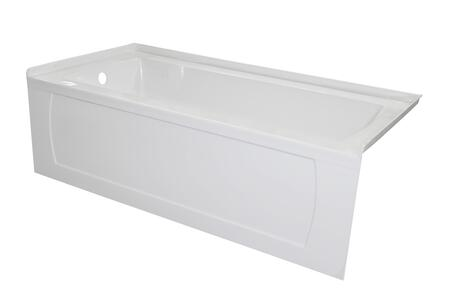 OVO6034SKDFLWHT 60″ OVO White Acrylic  Bathtub with Decorative Integral Skirt and Double Flange 60″X34″ Left Hand
