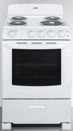 Summit  RE2411W Freestanding Electric Range White, RE2411W Front View
