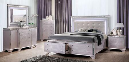 Furniture of America Claudette CM7972EKBEDNSCHDRMR Bedroom Set Pink, CM7972EK-BED-NSCHDRMR