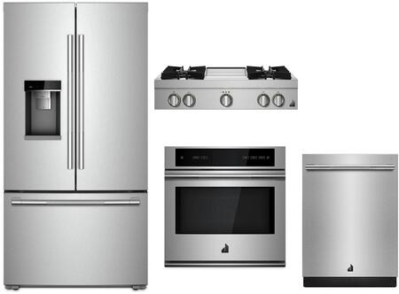 4 Piece Wi-Fi Connected Kitchen Appliances Package with JFFCC72EHL 36″ French Door Refrigerator  JJW3430IL 30″ Electric Single Wall Oven  JGCP536HL