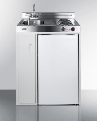 Summit C30EL Compact Kitchen White, C30EL Front View