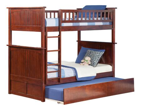 AB59154 Nantucket Bunk Bed Twin over Twin with Twin Size Urban Trundle Bed in