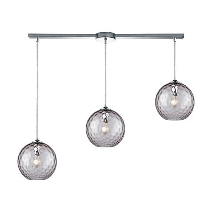 31380/3L-PRP Watersphere 3 Light Linear Bar Fixture in Polished Chrome with Purple Hammered