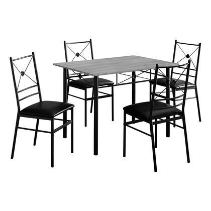 I 1021 Dining Set – 5-Piece Set / Grey / Black
