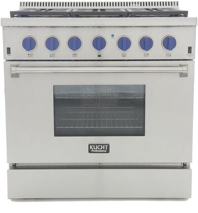 KRG3618U-B 36″ Professional-Class Natural Gas Range with 5.2 cu. ft. Convection Oven  6 Top Burners  Blue Porcelain Interior and High Quality Control