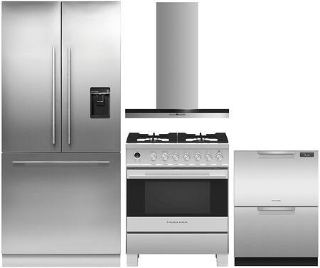 4 Piece Kitchen Appliances Package with RS36A80U1N 36″ French Door Refrigerator  OR30SDG6X1 30″ Dual Fuel Gas Range   HC30DTXB2 30″ Wall Mount
