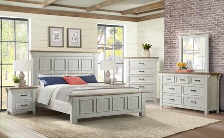 Lane Furniture Wyatt 1075KBED6SET Bedroom Set White, Bedroom Set