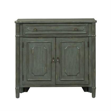 Madison Park Series Collection Cabinet Gray Finish With White Rub Thru includes One Drawer & Two Door Cabinet  Shaped Overlay Panels With Round