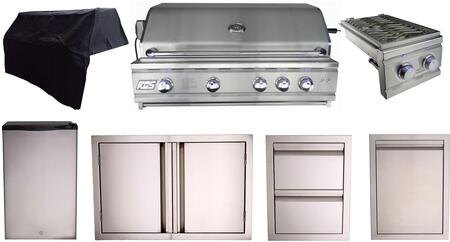 """7 Piece Kitchen Appliance Package with 38"""" Built-In Natural Gas Grill 14"""" Side Burner 33"""" Access Door 15"""" Storage Drawer 20"""" Outdoor Refrigerator"""