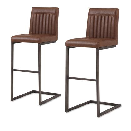 1060009-215 Ronan PU Leather Bar Stool Set of 2  in Antique Cigar