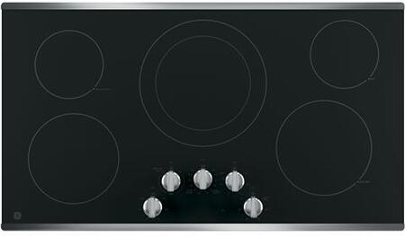 """GE JP3036SLSS 36"""" Electric Cooktop with 5 Elements, Smoothtop Style, Keep Warm Zone, Hot Indicator, ADA Compliant, UL Safety Listed, Glass Ceramic Surface"""