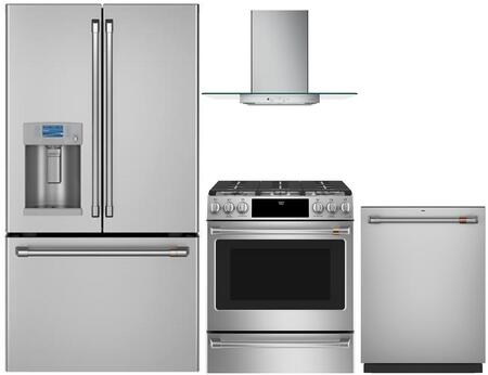 4 Piece Kitchen Appliances Package with CYE22TP2MS1 36″ French Door Refrigerator  CGB500P2MS1 30″ Gas Range  CVW73012MSS 30″ Wall Mount Ducted Hood