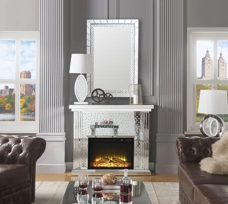 Acme Furniture Nysa 90204FM Fireplace Silver, Fireplace and Mirror