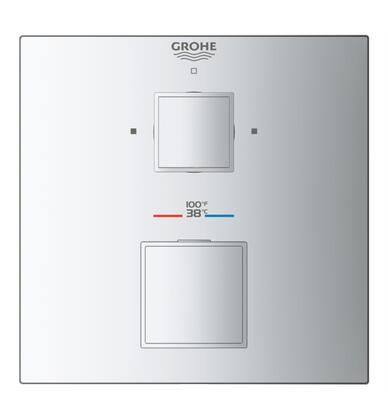 Grohtherm Cube 24158EN0 Dual Function 2-Handle Thermostatic Trim  in Brushed