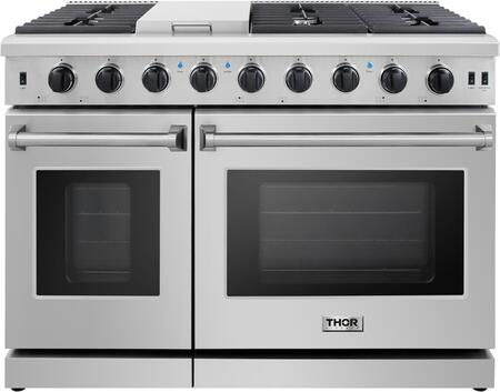 LRG4807U 48″ Professional Stainless Steel Gas Range with 6 Sealed Burners  Griddle  4.6 cu. ft. Primary Convection Oven Capacity  2.2 cu. ft.