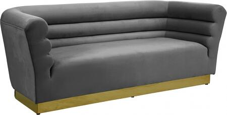 Bellini 669GREY-S 89″ Sofa with Piped Stitching  Gold Stainless Steel Base and Velvet Upholstery in