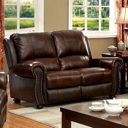Furniture of America Turton CM6191LV Loveseat Brown, Main Image
