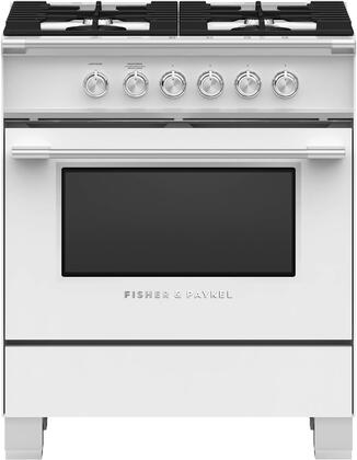 Fisher Paykel Classic OR30SCG4W1 Freestanding Gas Range White, Front view