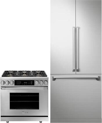 2 Piece Kitchen Appliances Package with DRF367500AP 36″ French Door Refrigerator and HDER36SNG 36″ Gas Range in Stainless