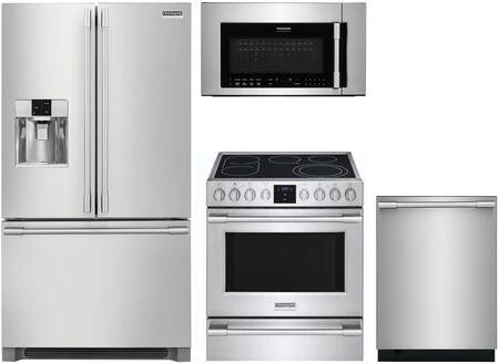 4 Piece Kitchen Appliances Package with FPBS2778UF 36″ French Door Refrigerator  FPEH3077RF 30″ Electric Range  FPBM307NTF 30″ Over the Range